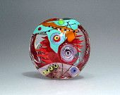 Coral Reef and Rose -glass lampwork focal bead-  37mm Focal bead- lampwork by Astrid Riedel