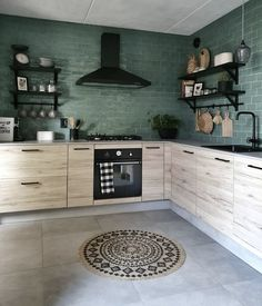 This kitchen has been instantly elevated by those perfect green tiles Love this soft with a masculine edge kitchen fr. Home Decor Kitchen, Rustic Kitchen, Kitchen Interior, Home Kitchens, Style At Home, Contemporary Kitchen Design, Home Fashion, Home And Living, Sweet Home