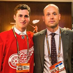 Blashill and dylanlarkin19 at the 2014 NHL Draft where Larkin was selected 15th overall. He now joins the @griffinshockey for their quest for the 2015 Calder Cup. #Larkin #Blashill #GoGRG #LGRW