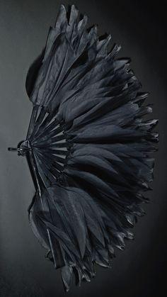 A black organza fan, Chanel, circa 1920. Celluloid mounts. #Chanel #ArtDeco #fan