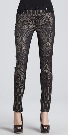 these amazing metallic patterned pants with a white blazer and black button up