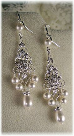 New Swarovski Crystal/White Pearl Silverplate Vintage Filigree Chandelier Earrings-Bridal Collection on Etsy, $47.93 AUD
