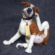 OOAK Needle Felted boxer with an itch Needle Felted Animals, Felt Animals, Needle Felting, Knitted Animals, Dog Sculpture, Animal Sculptures, Felt Dogs, Boxer Love, Dog Pattern