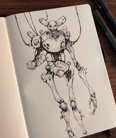 Character Design Animation, Fantasy Character Design, Character Art, Arte Robot, Robot Art, Ink Illustrations, Illustration Art, Art Sketches, Art Drawings