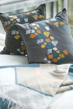 Beautiful ZEBRAG CUSHION hand embroidered by KISANY Living Linens for OTAGO design using exclusive Libeco Linen.