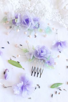 Purple haircomb and earrings bundle for bridesmaids Lilac Bridesmaid Dresses, Lavender Bridesmaid, Bridesmaid Gift Boxes, Lilac Dress, Bridesmaid Jewelry, Bridesmaid Hair, Bridesmaids, Lilac Wedding Themes, Summer Wedding Colors