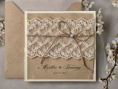 Recycling Paper Lace Wedding Invitation Pocket by DecorisWedding