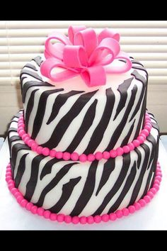 Pink & zebra stripes cake
