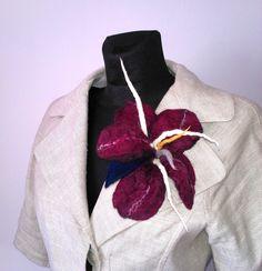 Big wet felted brooch burgundy big spring flower boho style by FeltBagsbyMarta on Etsy