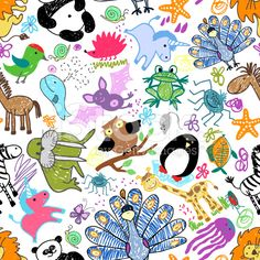 Childrens drawings seamless pattern with animals royalty-free stock vector art