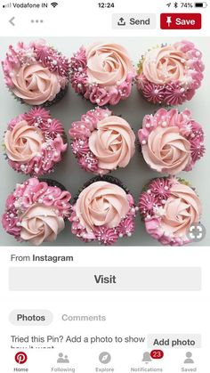 How to frost cupcakes Frost Cupcakes, Buttercream Cupcakes, Buttercream Wedding Cake, Pink Frosting, White Buttercream, Cupcakes Design, Fancy Cupcakes, Wedding Cakes With Cupcakes, Cupcake Icing Designs