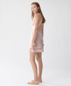 Blonde lace strappy nightdress - New In - Autumn Winter 2016 trends in women fashion at Oysho online. Lingerie, pyjamas, sportswear, shoes, accessories, body shapers, beachwear and swimsuits & bikinis.