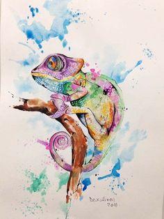 Watercolor idea for my chameleon watercolor painting watercolor tattoo, wat Painting Tattoo, Painting & Drawing, Tattoo Aquarelle, Tattoo Watercolor, Watercolour, Watercolor Animals, Watercolor Paintings, Cameleon Art, Branch Tattoo