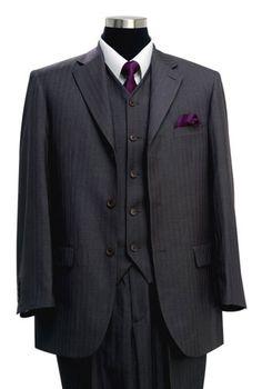 $188.90 3pc 3bt Detail Stripe Corsage Lapel Mens Business Dress Suit Sizes: 38R - 60R, 38L - 60L  Colors: Gray Stripe