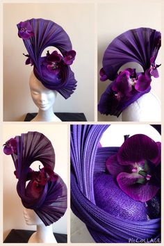 Purple Jinsin and silk orchid fascinator Flapper Headpiece, Fascinator Headband, Headdress, Facinator Hats, Fascinators, Purple Fashion, Flower Fashion, Silk Orchids, Hand Sewing Projects