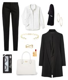 """""""Black or White"""" by biddy-c on Polyvore featuring Yves Saint Laurent, Lacoste, The Row, TOMS, Sabine Getty, David Yurman, Lydell NYC, Prada and Bésame"""