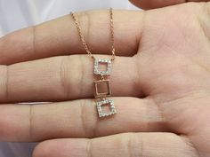 Cluster Necklace, Diamond Pendant Necklace, Drop Necklace, Layered Necklace, Gold Necklace, Diamond Jewelry, 18k Rose Gold, 18k Gold, Selling Jewelry