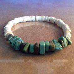 Green-Brown Magnesite and White Coconut Beaded Bracelet by CVioletJewelry