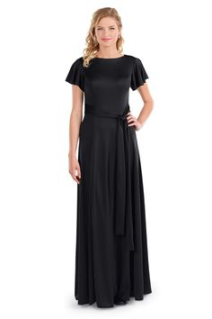 Black Stretch Knit concert dress for women with flutter sleeves, adjustable waist sash, and floor length skirt. Choir Dresses, Concert Dresses, Bridesmaid Dresses, Wedding Dresses, Flutter Sleeve, Dresses For Work, Formal, Lady, Skirts