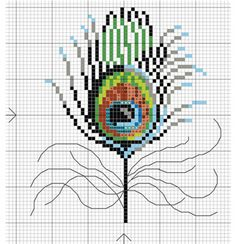 Peacock Feather could work as a cross stitch flooral too Cross Stitch Bird, Beaded Cross Stitch, Cross Stitch Animals, Cross Stitch Flowers, Cross Stitch Charts, Cross Stitch Designs, Cross Stitching, Cross Stitch Embroidery, Embroidery Patterns