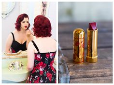 Besame Makeup, Pinup, Vintage, Red lips, Red hair  Photos by Caron Nicole Photography www.caronnicolephoto.com