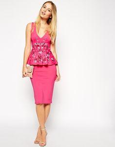 ASOS Low Plunged Embellished Peplum Midi Dress #graduation