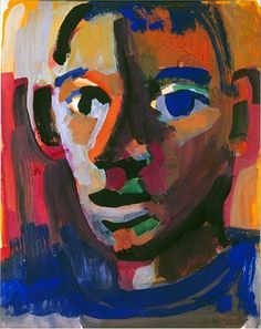 """Courtesy Hackett Mill SF David Park's """"Head"""" gouache on paper, 1960 x inches. From the book """"David Park, Painter: Nothing Held Back"""" by Helen Park Bigelow. *looks like his head was formed in the air by the notes played from a piano -rhl Figure Painting, Painter, Painting, Bay Area Figurative Movement, Art, Portrait Painting, Artwork Painting, Figurative Artists, David"""