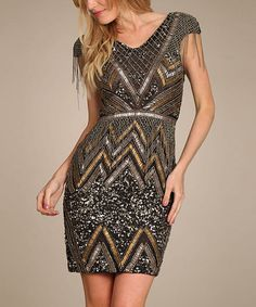 Black Embellished Chevron Sheath Dress #zulily #zulilyfinds