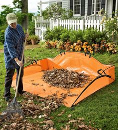 EZ Leaf Hauler Bag | Garden Organizing Tools | Plow & Hearth | Cleanup's a breeze with this giant dustpan for leaves. Made of rugged woven polyester stretched on fiberglass rods, it's easy to load and holds five times as much as a wheelbarrow.