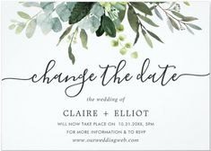 This Greenery themed change the date card is a perfect idea for letting your guests know about your wedding postponed, rescheduled, delay the date, wedding date correction or, save our new date. Featuring a beautiful watercolor Eucalyptus branch with Green Foliage and handwritten  headline calligraphy, a classic chick for modern design. Minimalist Wedding Invitations, Blush Wedding Invitations, Wedding Napkins, Watercolor Wedding Invitations, Funny Save The Dates, Save The Date Cards, Elegant Modern Wedding, Save The Date Templates, Wedding Save The Dates