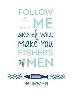 Fishers Of Men (Kids Bible Lesson+ Easy Craft! Printable Bible Verses, Bible Verses Quotes, Bible Scriptures, Faith Bible, Bible Verse Signs, Printable Art, Matthew 4 19, Bibel Journal, Free Bible