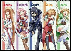Sword art online: Asuna, Lizbeth, Kirito l, Sílica e Leafa