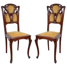 Pair of Antique French Art Nouveau Carved Walnut Side Chairs