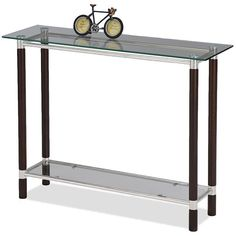 A rich coffee finish on the solid wood legs highlights the modern design of this sofa table. With brushed nickel elements, and a tempered glass top and lower shelf, this stylish accent is sure to add beauty to any living space.