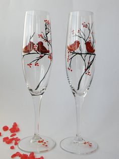 Hand painted Wedding Toasting Flutes Set of 2 Personalized Champagne glasses red Love Birds on the branch. $49.00, via Etsy.