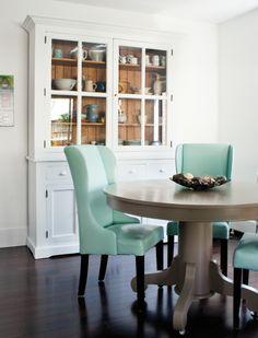 dark floors aqua chairs white china cabinet
