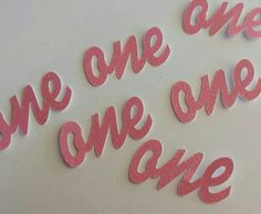 Pink Glitter One script age confetti 1st Birthday Many colors available! Pink and Gold Princess Birthday Party Decor!