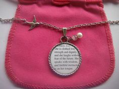 Proverbs 31 25  Bible Verse Pendant Jewelry Quote Christian Necklace. $22.00, via Etsy.