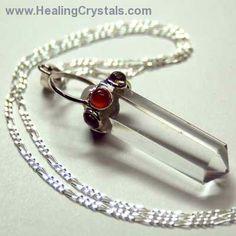 Chakra Pendant - Clear Quartz Pendant Encircled w/7 Cabochons www.HealingCrystals.com