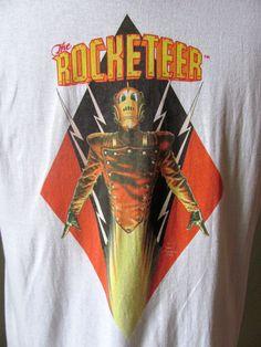 Rare ROCKETEER robot super hero T-SHIRT with original Dave Stevens comic illustration copyright 1986. $75,00, via Etsy.
