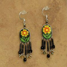 Wanderlust Amarillo Estrella Flor Pendientes Perforados * hecho a mano en Perú *