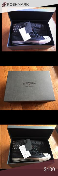 John Varvatos limited edition converse NWT never worn, limited edition converse. Original box and dust bag included. Grey and black converse with studding and zipper details. Gender free sizing women's 10, men's 8. Converse Shoes Sneakers