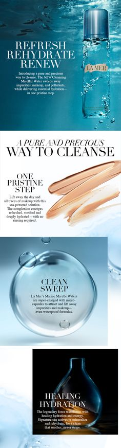 The Cleansing Micellar Water purifies at home, en route and après gym. Whether for quick makeup touchups, or a thorough cleanse before bed, a pristine clean is always within reach.
