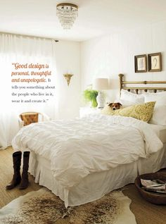 shabby chic bedroom - white on white - 'good design' #ClippedOnIssuu from Vintage Beautiful 2014