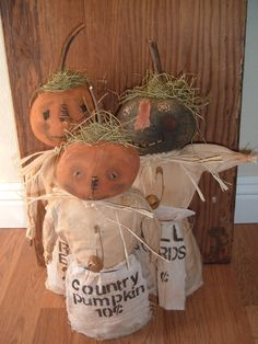 Primitive Folk Art Pumpkin Harvest Dolls