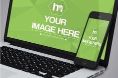 Closeup iPhone and Macbook Screen Mockup Template | ShareTemplates