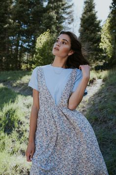 THE EAGAR JUMPER DRESS IN TINY FLORAL