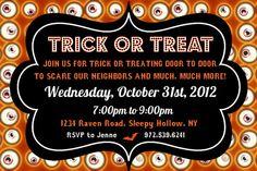 Trick or Treat Halloween Eyeball Invitation by Pumpkin Beans #Halloween #Fall #Printable