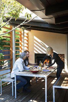 Linear - desire to inspire - desiretoinspire.net outdoor terrace fireplace