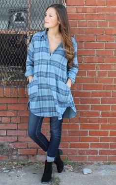 Teton Tunic in Newman Blue Plaid by CP Shades USA, cp shades tunic, cp shades clothing, free people, bohemian, boho fashion. Pull on tunic top with open front placket, pointed collar & long sleeves. Back yoke with slight gathering. Button cuffs & curved shirttail hemline. Front patch pockets. Double Cotton – striped on inside